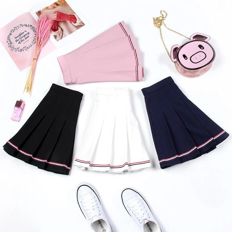 """BOTTOM STRIPE PLEATED"" SKIRT N082602"