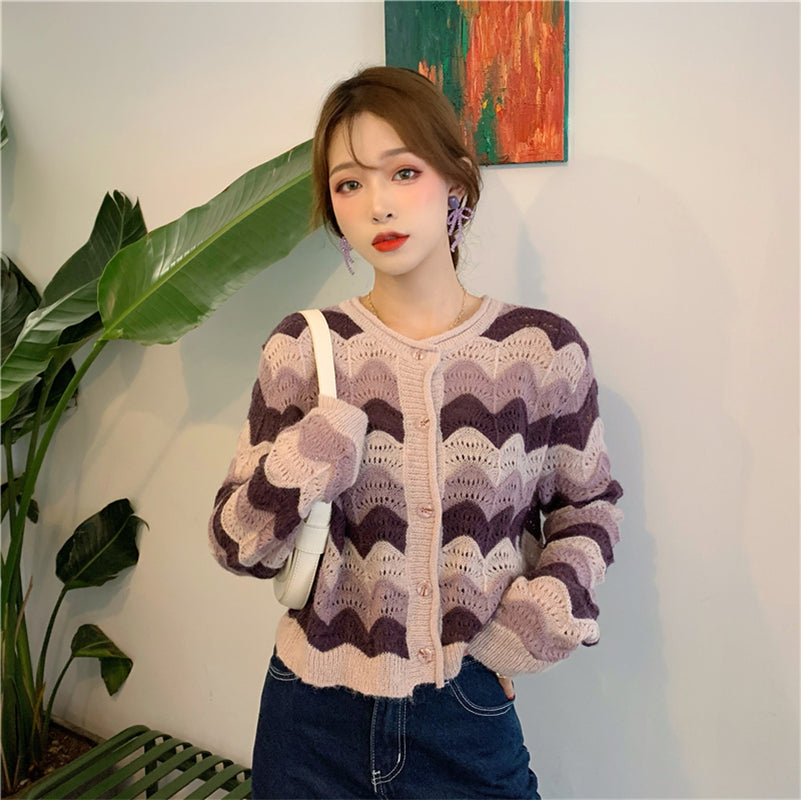 """STRIPED KNITTED"" CARDIGAN N091606"