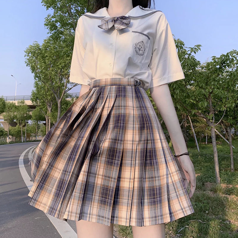 """JK GRAY BROWN PLAID"" SKIRT/TIE N073017"