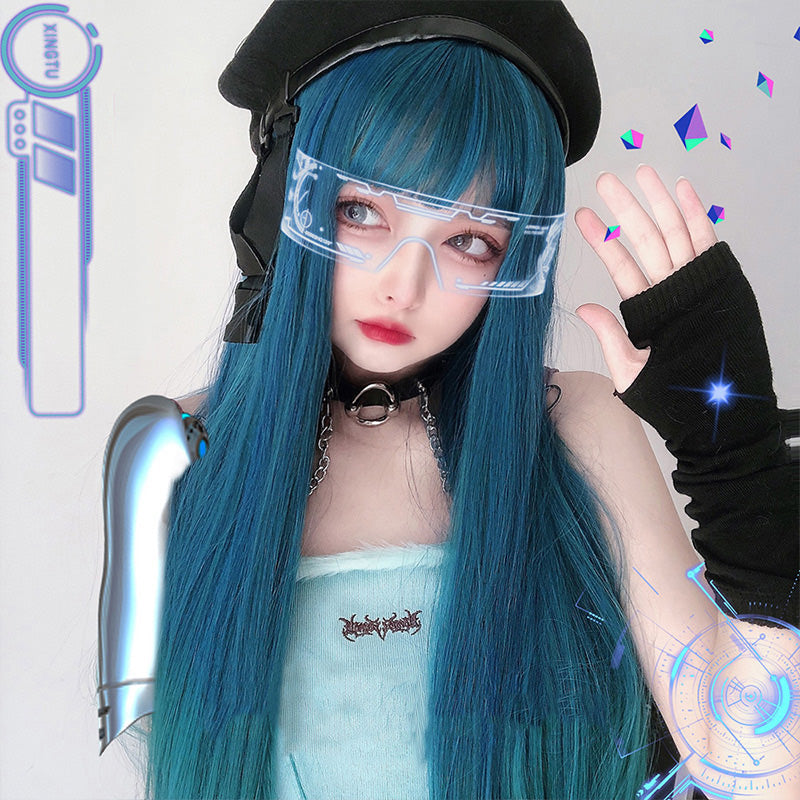 """LOLITA BLUE LONG STRAIGHT/CURLY"" WIG N111802"
