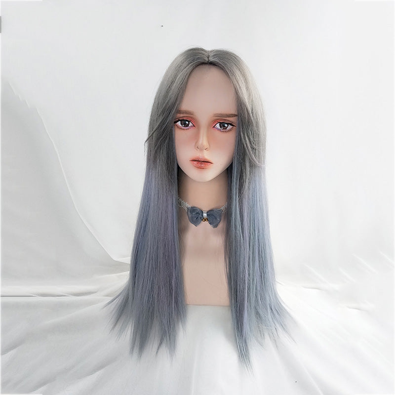 """GRAY BLUE GRADIENT LONG STRAIGHT"" WIG N111310"