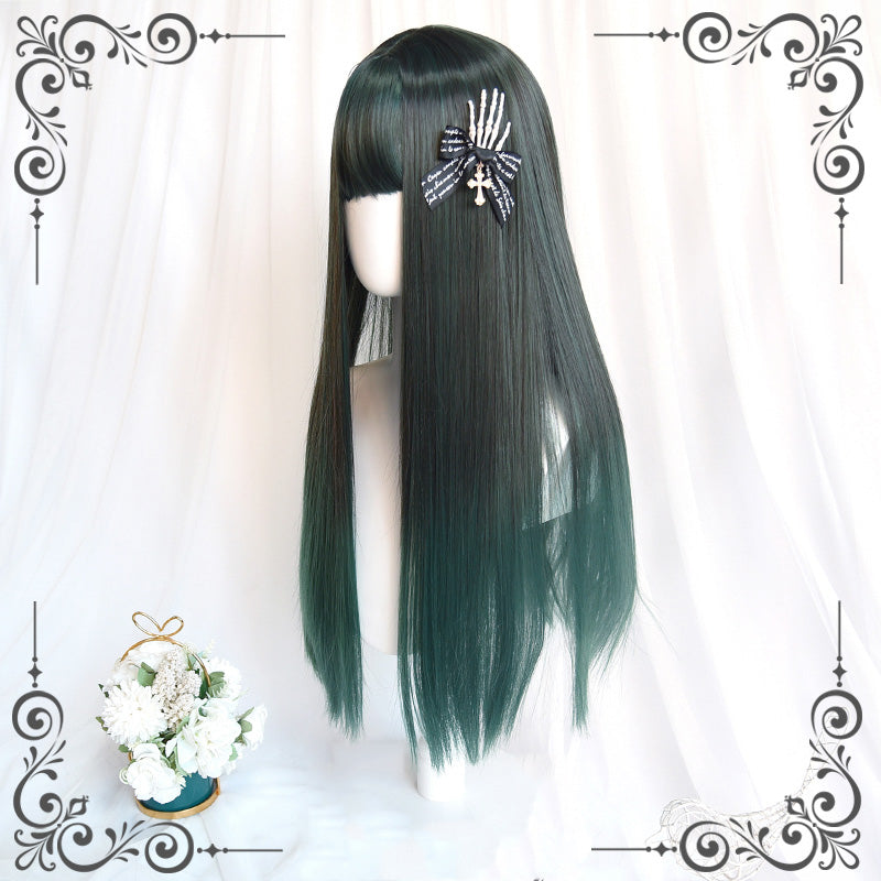 """DARK GREEN GRADIENT LONG STRAIGHT"" WIG N111708"