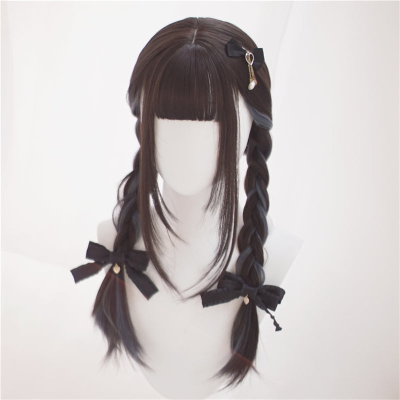 """BLACK MIST BLUE LONG STRAIGHT"" WIG N122805"