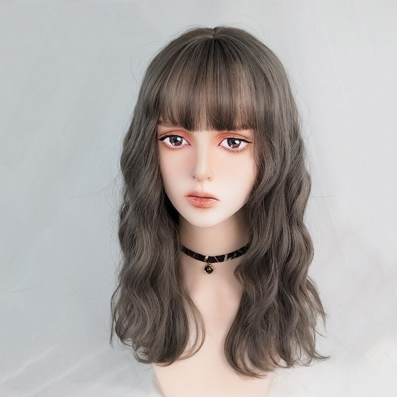 """LINEN GRAY LONG CURLY"" WIG N022105"