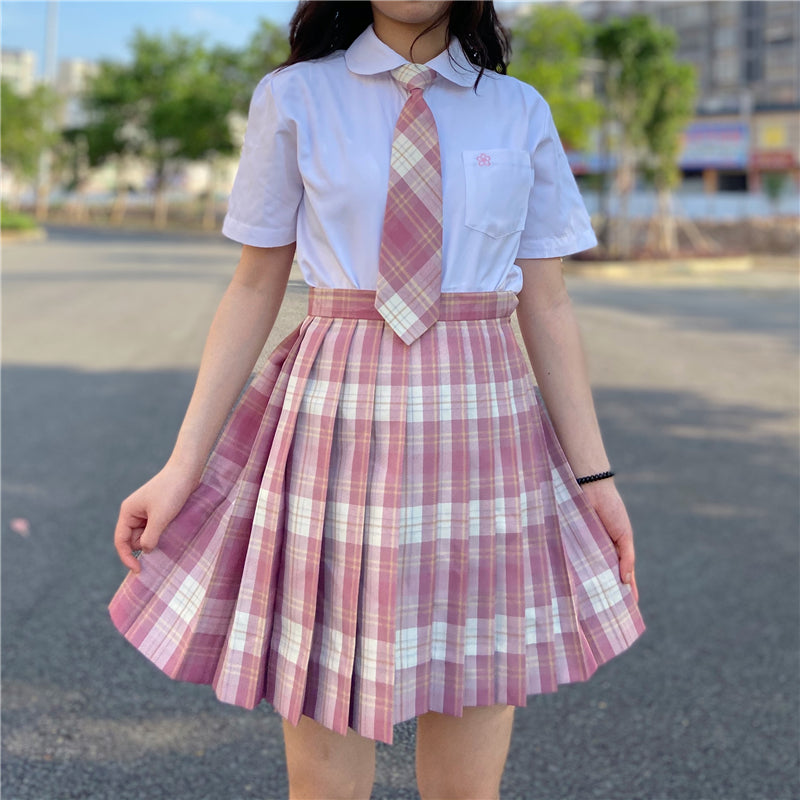 """JK RASPBERRY RED PLAID PLEATED"" SKIRT / TIE N073012"