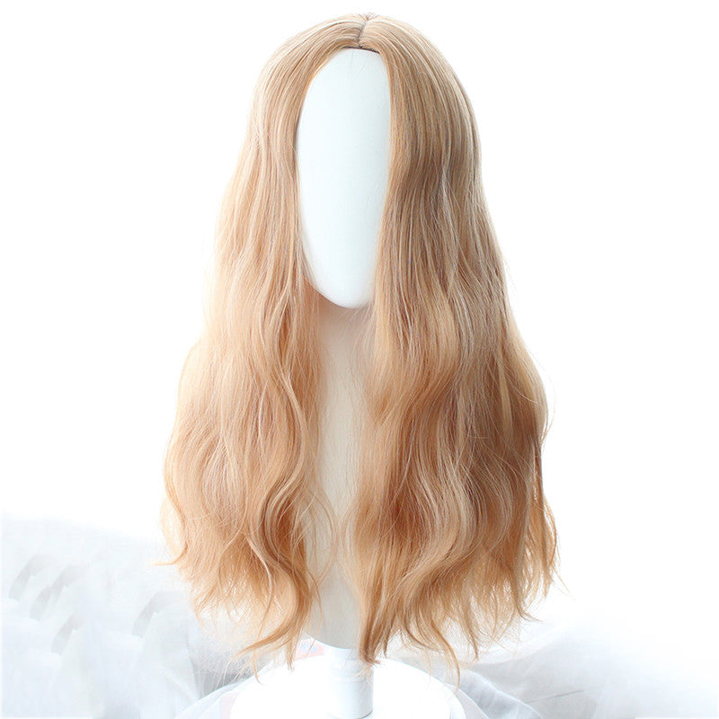 """MID-POINT BANGS GOLDEN LONG CURLY"" WIG N101405"