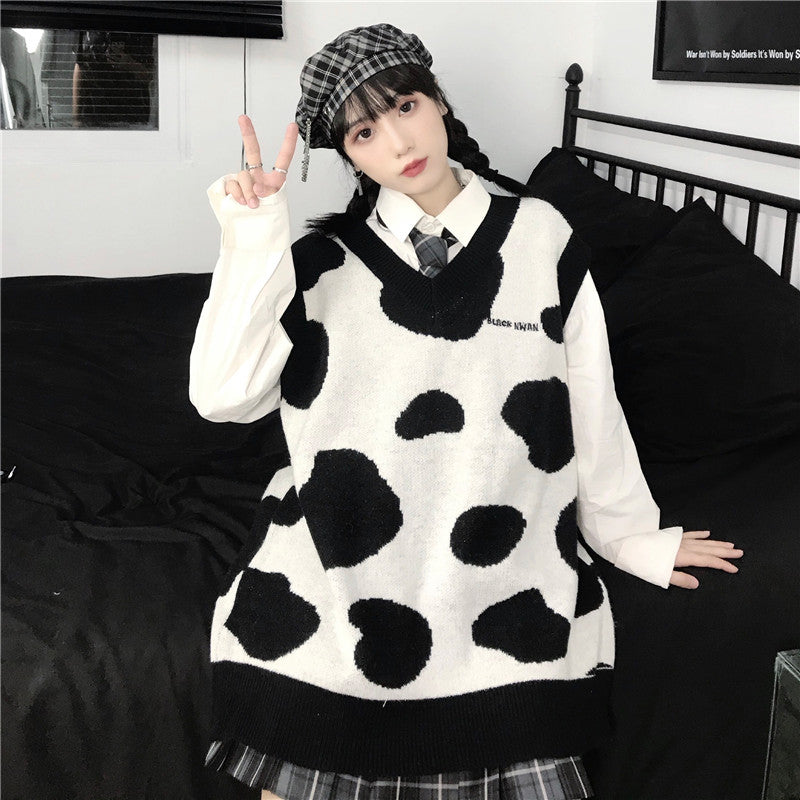 """COW PATTERN SWEATER"" VEST N012009"