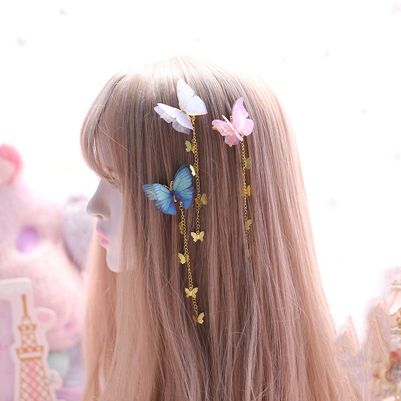 """SHEER TULLE BUTTERFLY"" HAIR CLIP N092402"