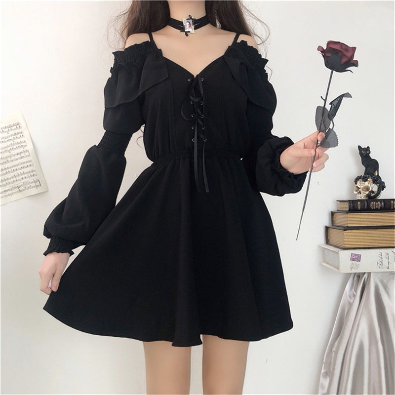 """BLACK LACE LONG SLEEVE "" DRESS N090705"