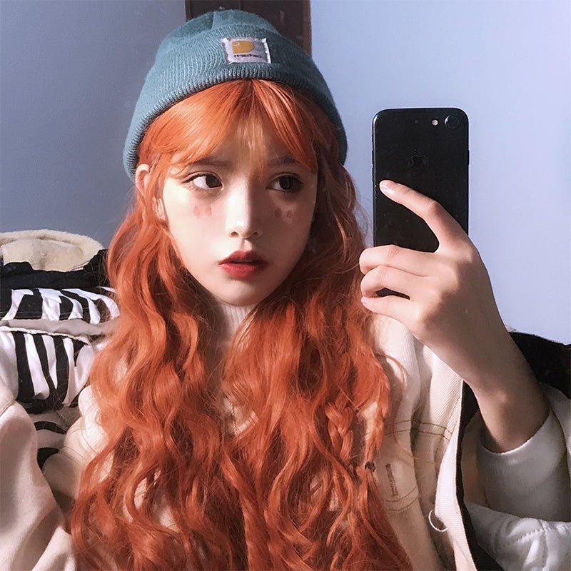 """DIRTY ORANGE CUTE WOOL CURLY"" WIG N101304"