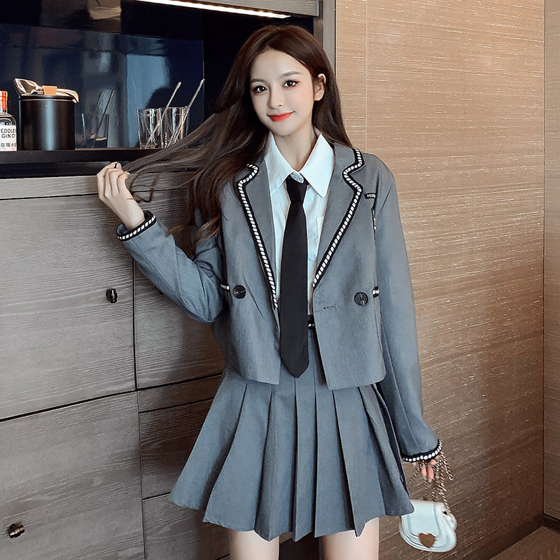 """BLAZER + PLEATED SKIRT"" SUIT N092304"