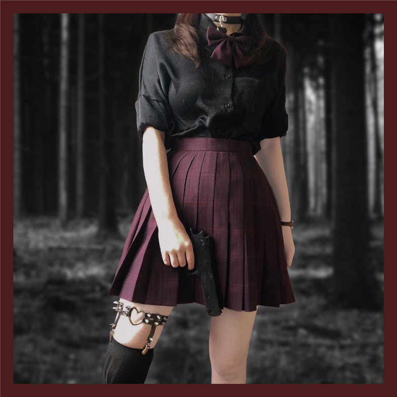 """JK WINE RED PLAID"" SKIRT N082708"