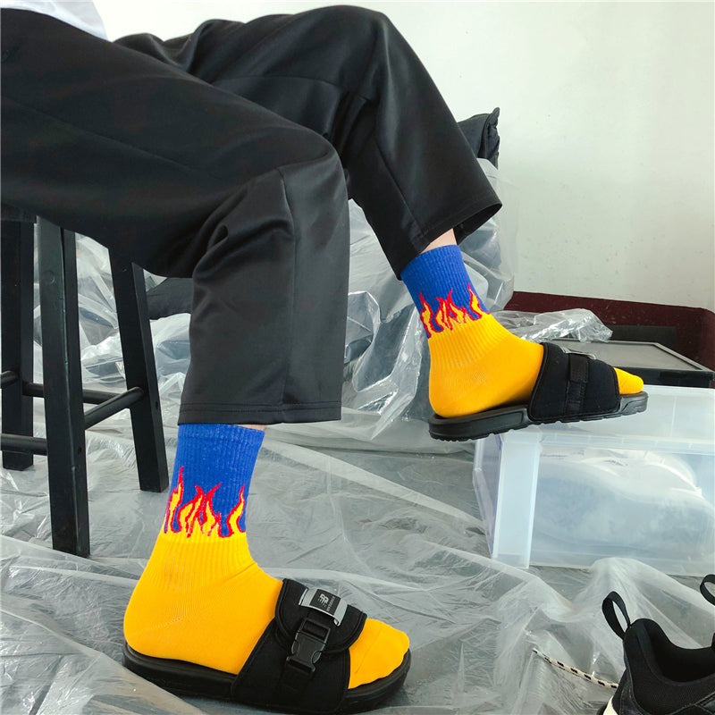 """THREE PAIRS OF CONTRASTING FLAME"" SOCKS N051003"