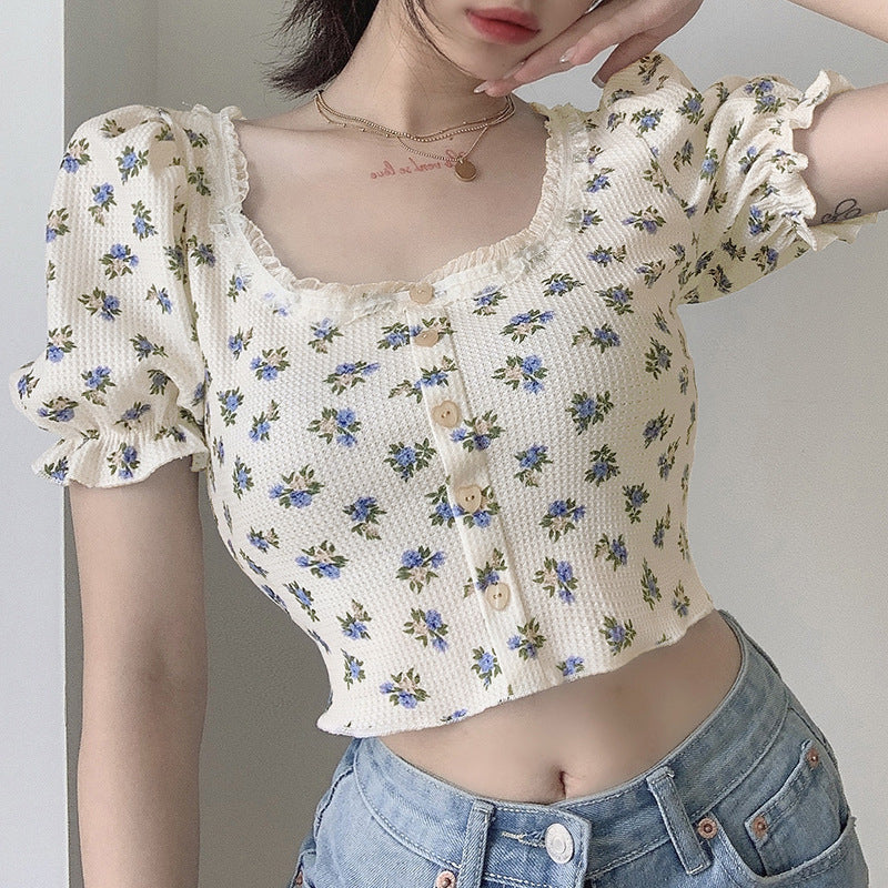 """HEART BUTTON PUFF SLEEVE FLORAL"" TOP N072205"