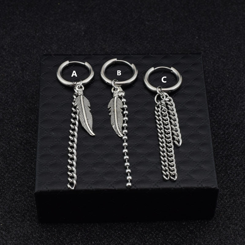"""BTS FEATHER CHAIN"" EARRINGS N082003"