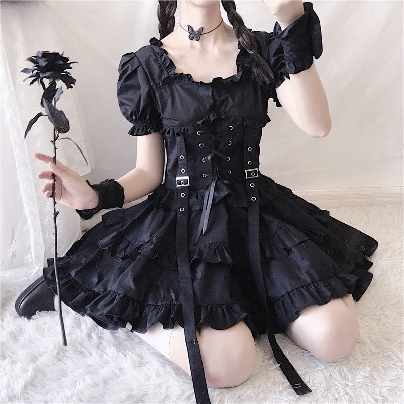"""DARK BLACK GOTHIC LOLITA"" DRESS N082904"