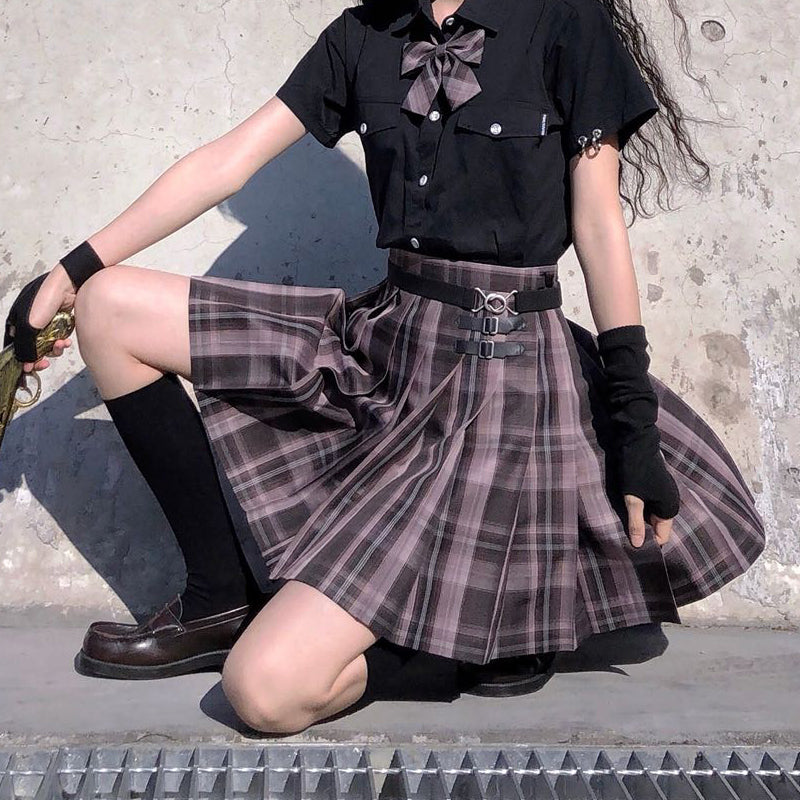 """JK DARK PURPLE PLAID"" SKIRT N082707"