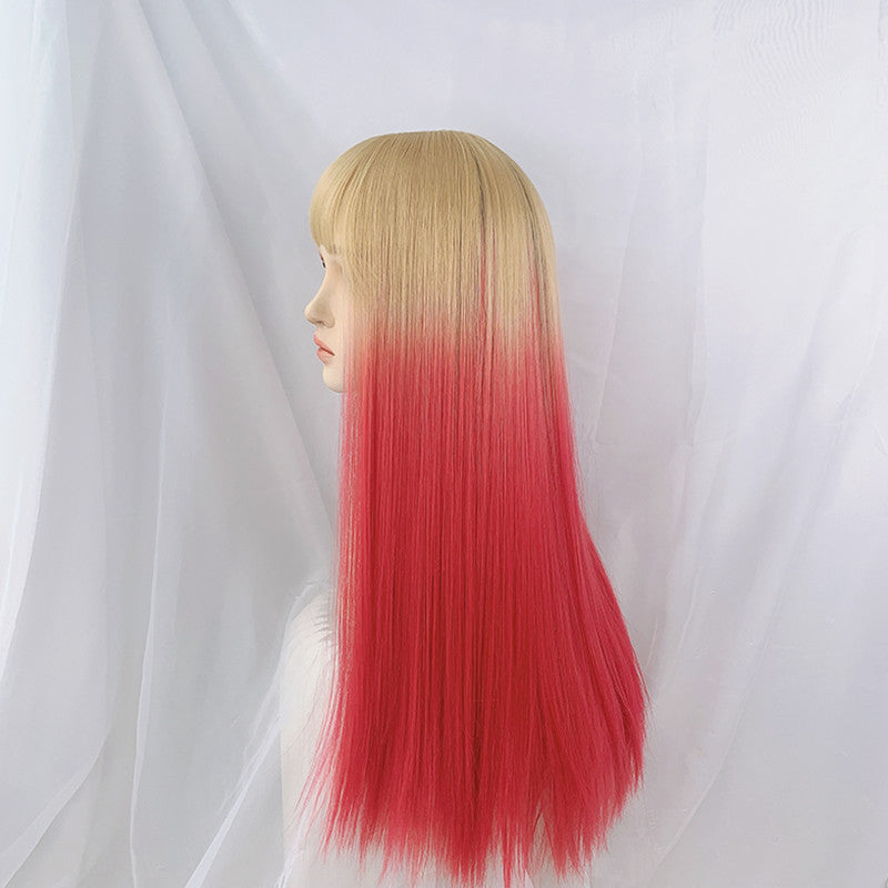 """LINEN GOLD PINK GRADIENT LONG STRAIGHT"" WIG N101408"