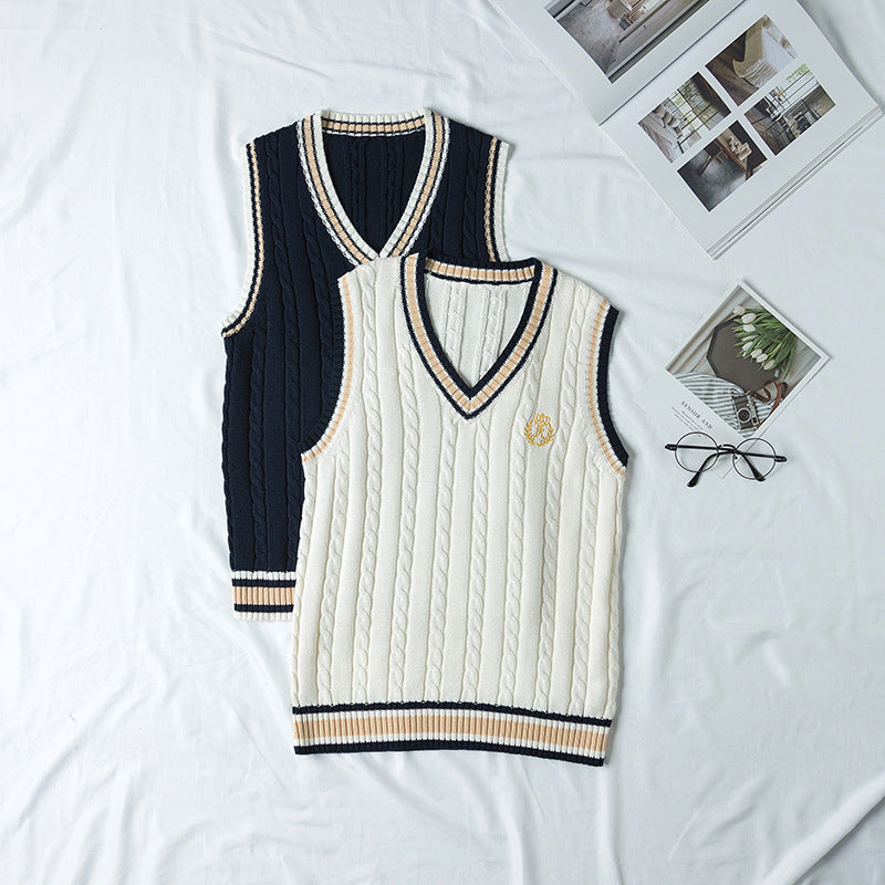 """JK EMBROIDERED V-NECK SWEATER"" VEST N081404"
