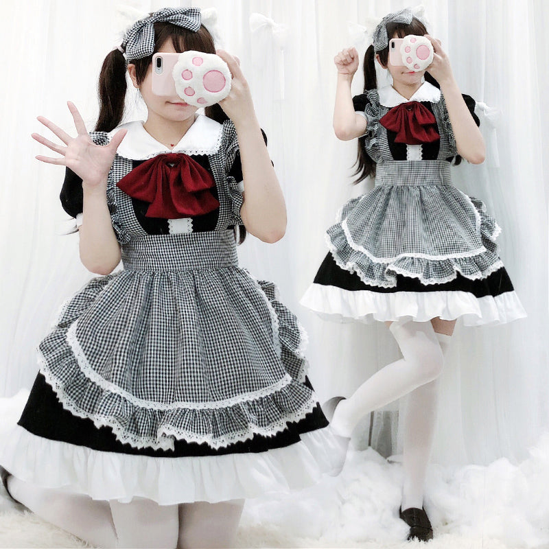 """LOLITA CUTE BLACK WHITE CHECKERED MAID"" UNIFORM N050803"