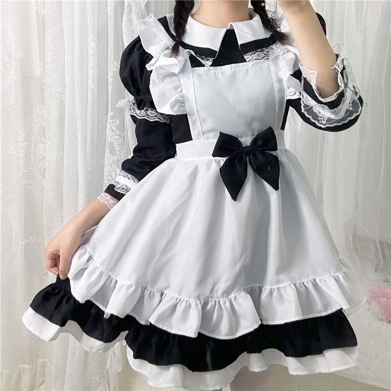 """LOLITA BLACK WHITE BOW LONG SLEEVE MAID"" OUTFIT N022409"