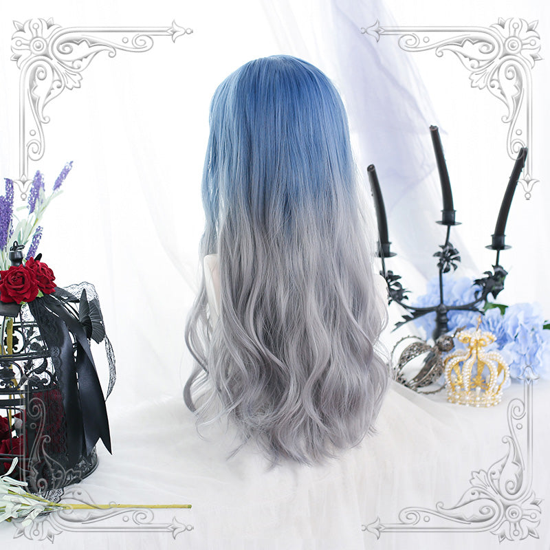 """LOLITA BLUE GRAY GRADIENT LONG CURLY"" WIG N111306"