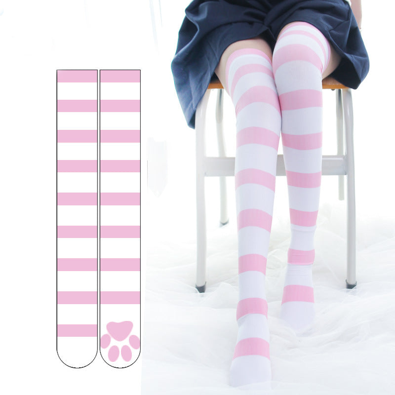 """CAT PAW STRIPED OVER THE KNEE"" SOCKS N102408"