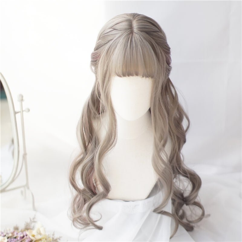 """AOKI LINEN GREY PINK LONG CURLY"" WIG N122806"