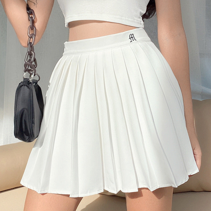 """BLACK WHITE LETTER EMBROIDERED"" SKIRT N051304"