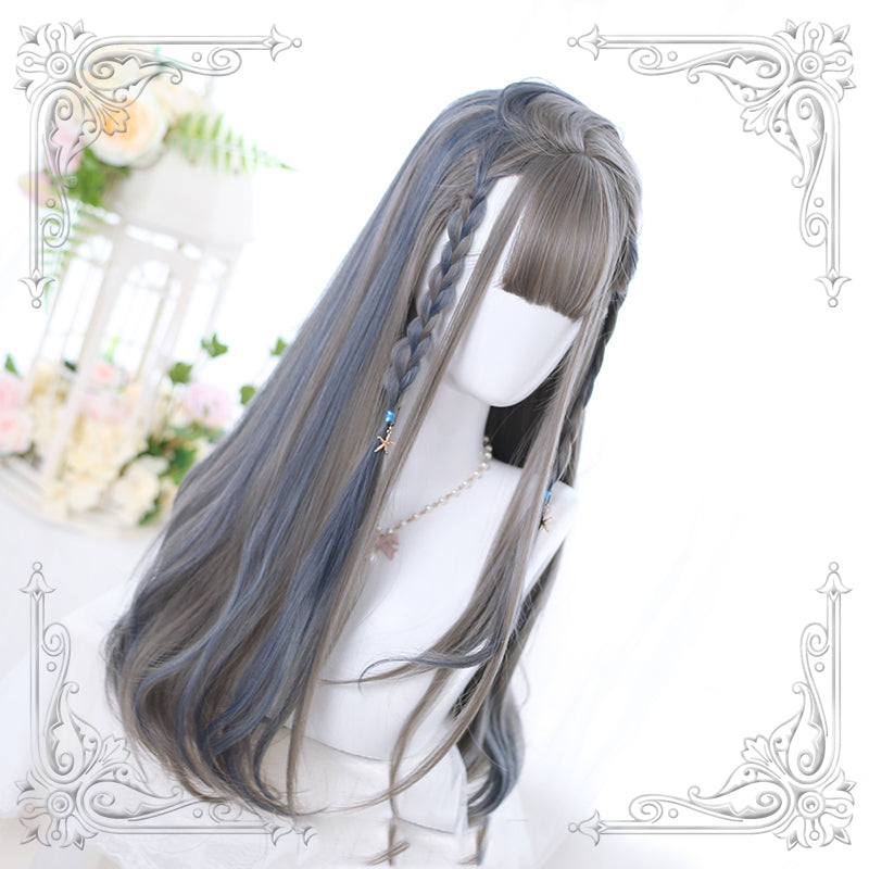 """LOLITA GRAY BLUE HIGHLIGHTING LONG CURLY"" WIG N102706"