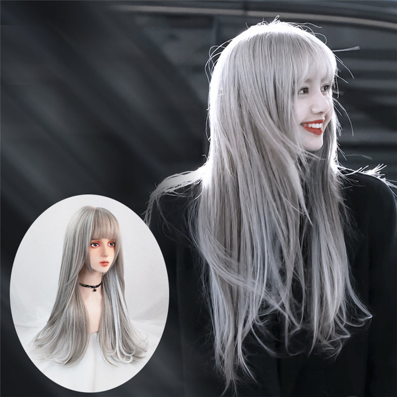 """GRAY WHITE BANGS LONG CURLY"" WIG N111308"