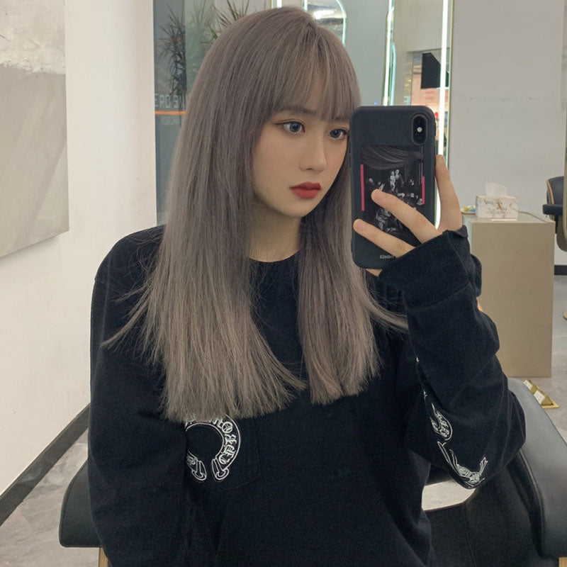 """STRAIGHT BANGS SMOKY GRAY LONG"" WIG N101305"