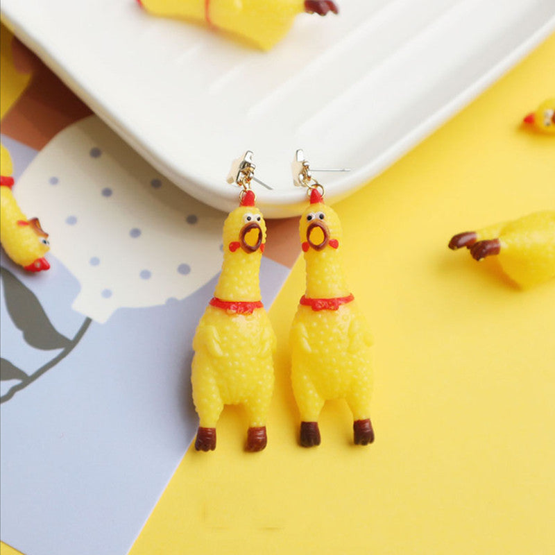 """FUNNY SCREAMING CHICKEN"" EARRINGS/EAR CLIPS N031006"