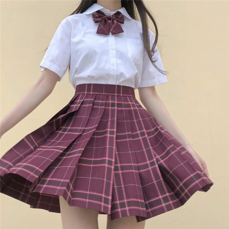 """JK RED PLAID PLEATED"" SKIRT / TIE N073010"