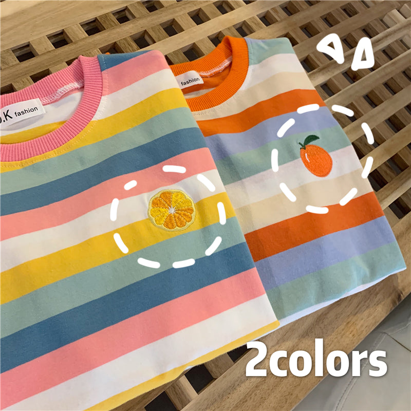 """RAINBOW STRIPED EMBROIDERY FRUITS"" T-SHIRT N072209"