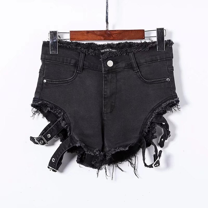 """HOLLOW RIPPED"" JEANS SHORTS W031802"