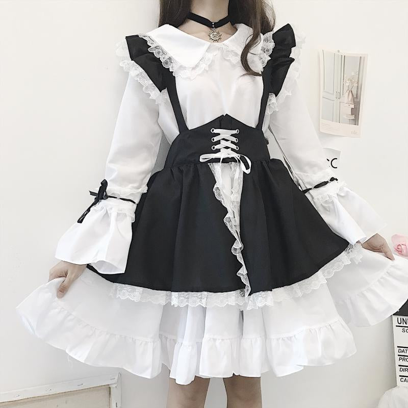 """BLACK WHITE LOLITA CUTE LACE"" MAID SUIT N111705"
