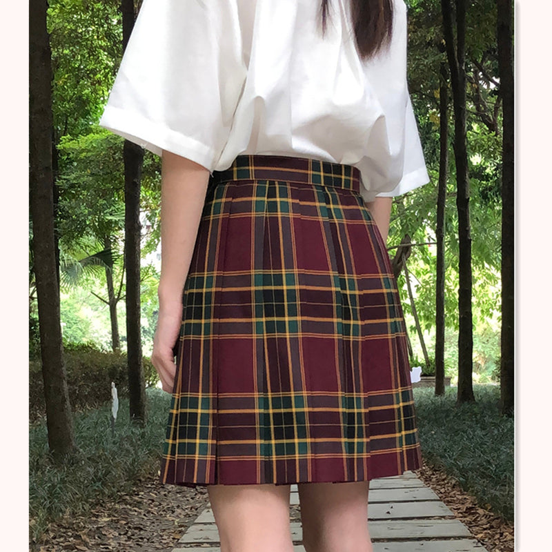 """JK DARK RED GREEN PLAID"" SKIRT / TIE N073016"