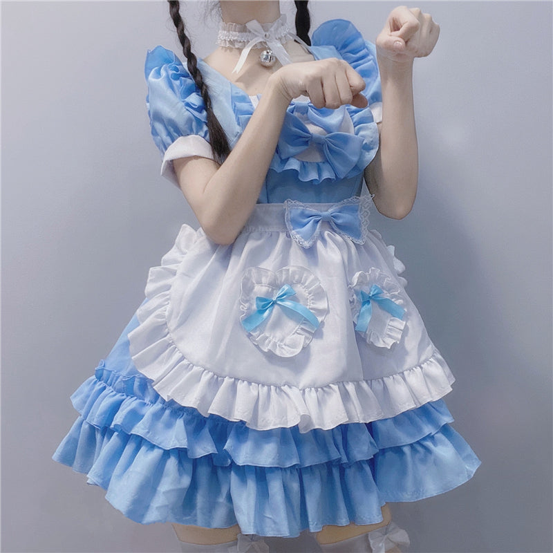 """LOLITA BLUE CUTE LACE BOWKNOT MAID"" OUTFIT N050802"