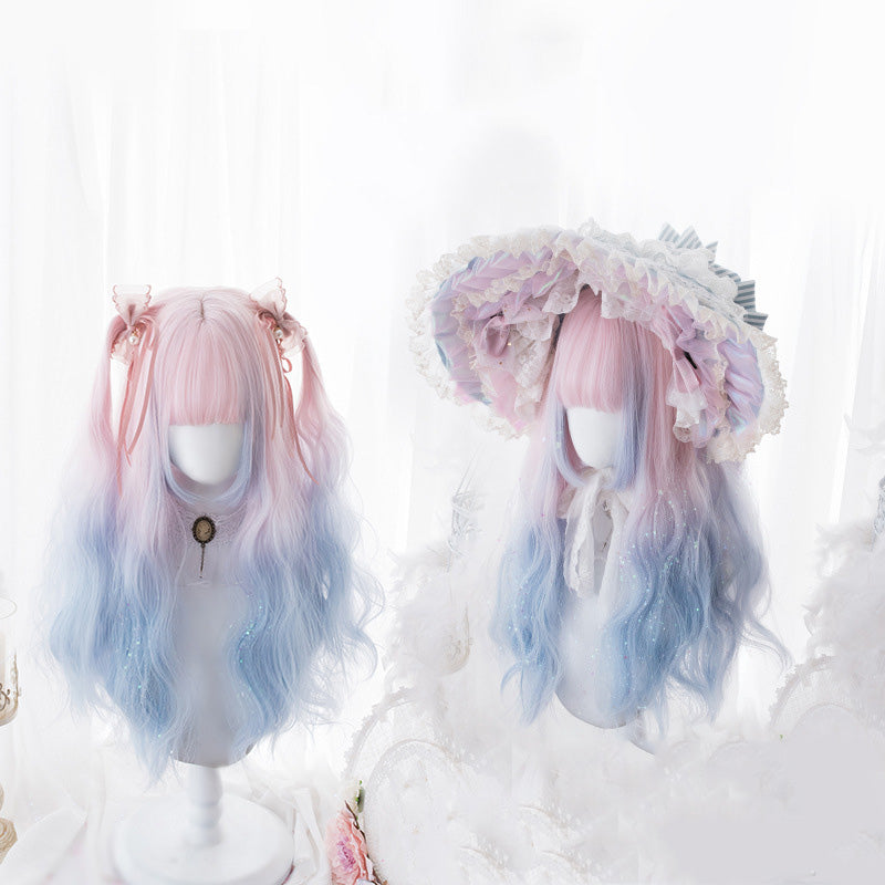 """Lolita Pink Blue Gradient Long Curly"" Wig N110209"