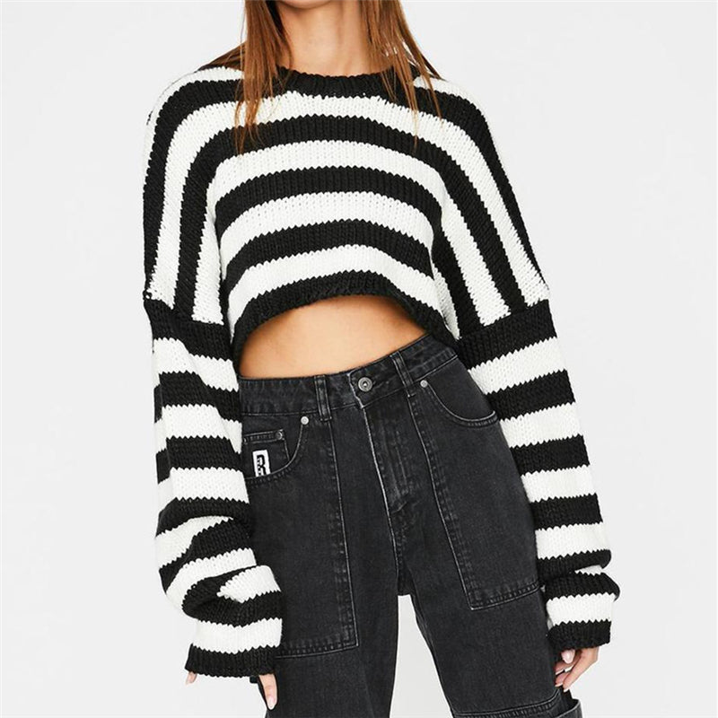 """BLACK WHITE STRIPED KNITTED"" CROP TOP N110901"