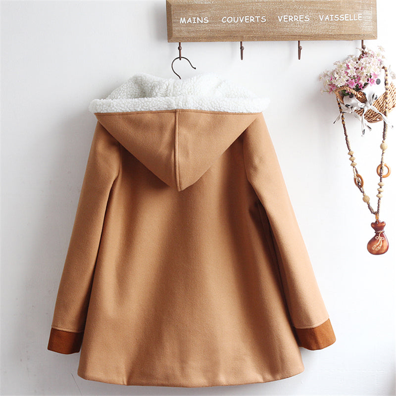"""BUNNY BOWKNOT PLUSH HOODED"" COAT N081108"