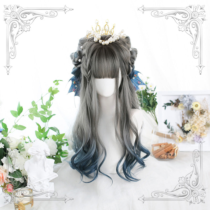 """LOLITA BLUE GRADIENT LONG CURLY"" WIG N011906"