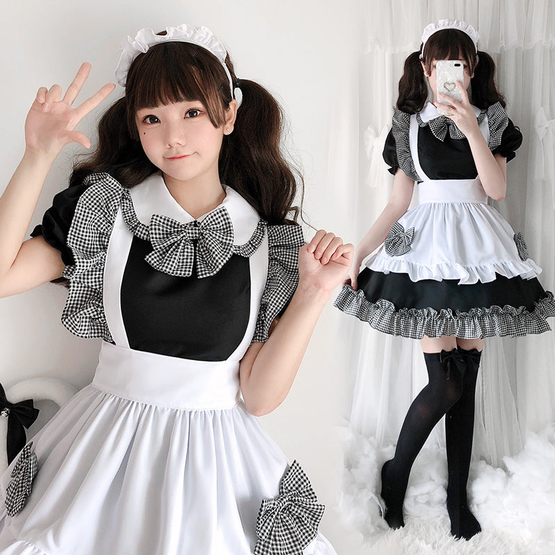 """CUTE PLAID LACE MAID"" OUTFIT N010801"
