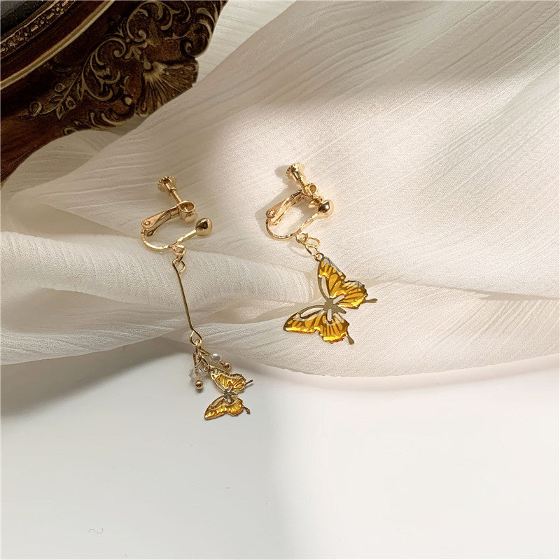 """AMBER BUTTERFLY"" EARRINGS N090912"
