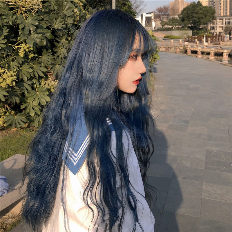 """LOLITA GRAY BLUE LONG CURLY"" WIG N101310"