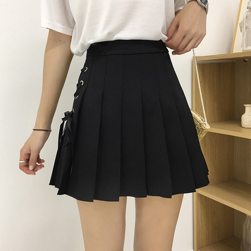 """LACE-UP PLEATED"" SKIRT N081107"