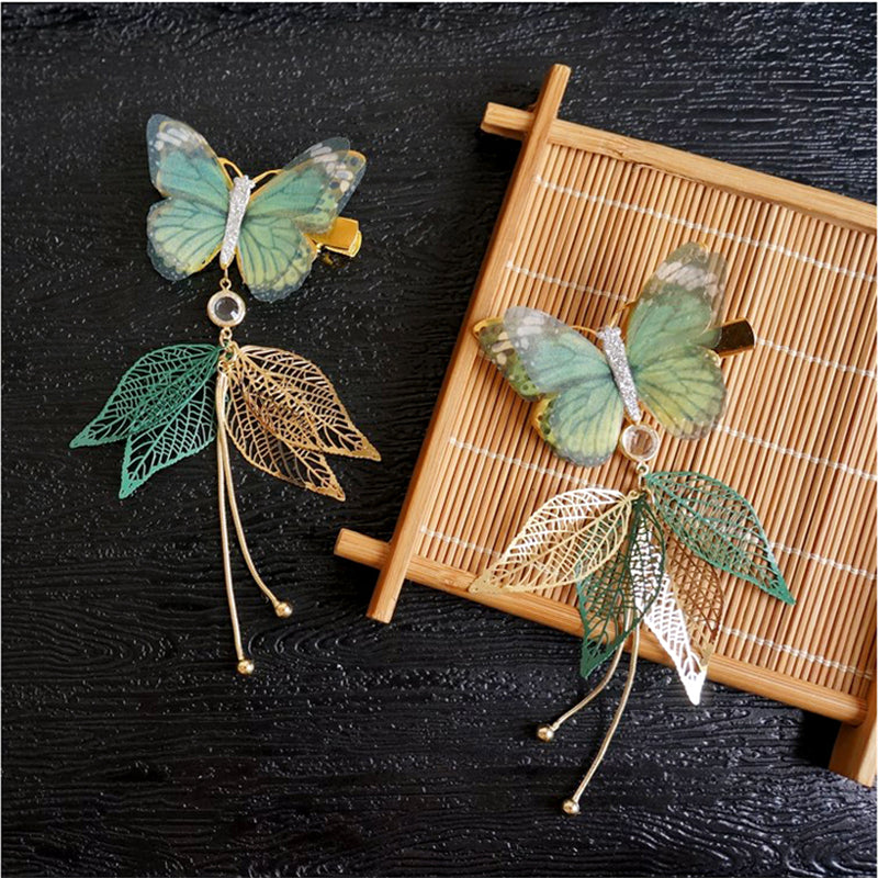 """GREEN LEAF BUTTERFLY"" HAIRPIN N092404"
