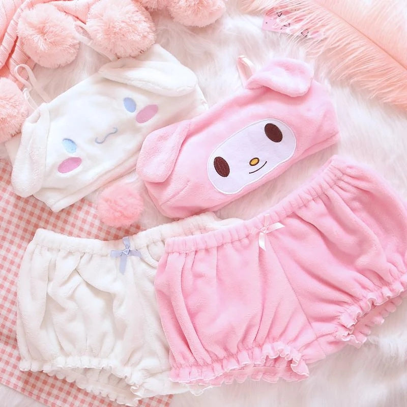 """PLUSH EARS  EMBROIDERY "" LINGERIE PAJAMAS SUIT N081101"