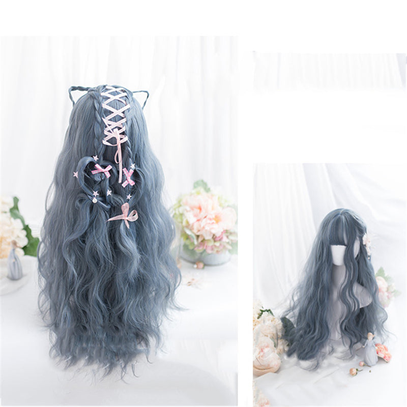 """LOLITA BLUE GRAY WAVY LONG CURLY"" WIG N111801"